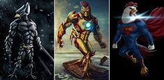 Artista transforma heróis em galos e o resultado fica espetacular - Legião dos Heróis