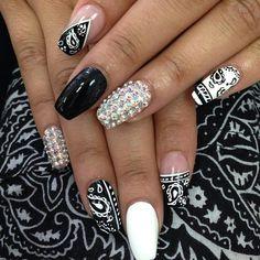 #nails #naildesign #nailart #polish #nailpolish #gems #black #white #bandana #printed