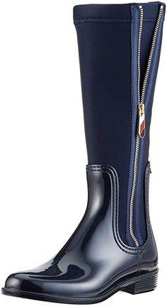 f4f43967734916 Tommy Hilfiger Damen Material Mix Long RAIN Boot Hohe Stiefel, Blau  (Midnight 403), 36 EU