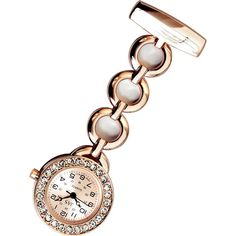 Metallic Pin-on Nurse Watch - Hooped Link with Stones - Rose Gold