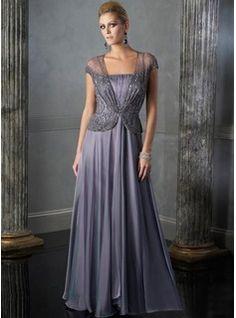 Corte A/Princesa Escote en V Hasta el suelo Chifón  Charmeuse Vestidos de madrina con Volantes  Bordoneado (008005692)