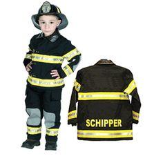 Personalized Child Fire Fighter Costume - Black