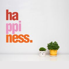 "This Happiness wall quote sticker features a colorful typography of the word ""Happiness"". Vinyl wall decor is a great choice to upgrade your home & office space, simply peel & stick this wall graphics to get a unique wall decor. Dinning Room Wall Decor, Dining Room Walls, All Wall, Off The Wall, Wall Stickers, Wall Decals, Famous Inspirational Quotes, Inspiring Quotes, Recycled Garden"