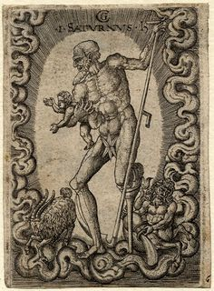 Saturn, whole-length naked figure, with a wooden leg, holding a struggling child and scythe, encircled by ethereal clouds; below zodiacal symbols, including the goat of Capricorn (and Aquarius). Engraving. 1520 ca.