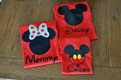 Custom Disney/Mickey Mouse Inspired Family Shirts with Glitter option Available on Etsy, $15.00