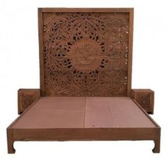 Asian Art Exports - offering Carved & Antique Solid Wood Carved Wood Bed at Rs in Jodhpur, Rajasthan. Get best price and read about company and get contact details and address. Wooden Partitions, Wooden Wall Panels, Wooden Bed Frames, Wood Beds, Wooden Walls, Carved Beds, Hand Carved, Carved Wood, Boho Bed Frame