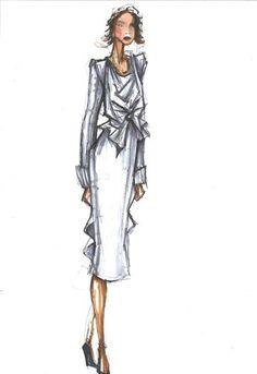 Zac Posen sketch for Michelle Obama.