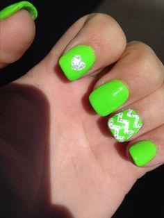 Luscious lime!! Green nail art 2014 chevron heart glitter. Love.
