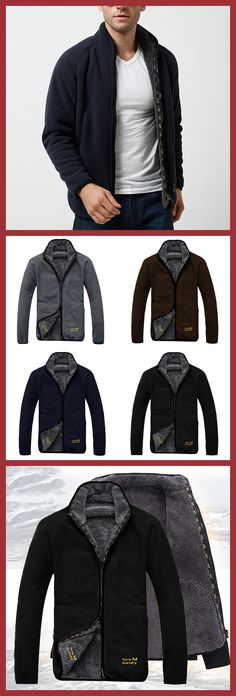US$69.95 + Free shipping. Size: M~2XL. Color: Gray, Royal Blue, Black, Coffee. Fall in love with casual and sports style! Mens Polar Fleece Reversible Thick Warm Winter Stand Collar Jacket. #mens #jackets