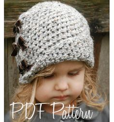 Crochet pattern for little girl's hat. Adorable!