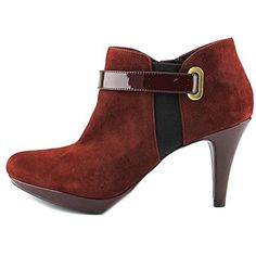 Bandolino Bandolino Cambria Suede Ankle Booties ($40) ❤ liked on Polyvore featuring shoes, boots, ankle booties, red, tall boots, wide ankle boots, faux suede ankle booties, red suede booties and faux suede boots