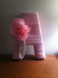 Beautiful Letter Decoration Tulle Wrapped by Diy Letters, Letter A Crafts, Wooden Letters, Craft Projects, Projects To Try, Diy And Crafts, Arts And Crafts, Tulle, Little Girl Rooms