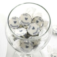 SILVER JUST MARRIED ROCK SWEETS WEDDING FAVOURS WRAPPED x 50