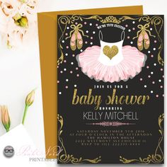 Pink Tutu Baby shower invitation Glitter and gold ballerina - Pink Nerd Printables