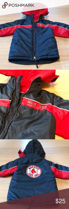 """MLB Boston Red Sox reversible winter coat MLB Genuine Merchandise Boston Red Sox reversible winter coat. This is a beautiful coat. Wear in one direction with blue hood and embroidered Red Sox logo on back. Wear the other way with a red hood and embroidered words """"Boston Red Sox"""" on back. Hood is removable. Excellent like new condition. Comes from a smoke free home. MLB Genuine Metchamdise Jackets & Coats"""