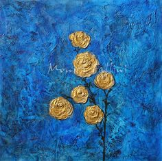 Paintings by Monica Fallini: Gold Roses and Gold Poppies acrylic painting flora...