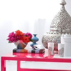 Mod Maroc lantern - love the silver and white w pops of color!