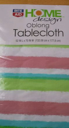 Oblong Vinyl Tablecloth 52 X 70 Inches Multi Color, Striped