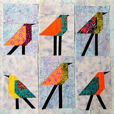 6 Bird Blocks on the Design Wall Bird Quilt Blocks, Modern Quilt Blocks, Paper Piecing Patterns, Quilt Block Patterns, Small Quilts, Mini Quilts, Quilting Projects, Quilting Designs, Stained Glass Quilt