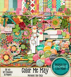Color Me May Digital Scrapbook Kit, Spring Scrapbook, scrapbook flairs, scrapbook tags, digital scrapbook kit, bold scrapbook kit, pattern papers, scrapbook pattern papers