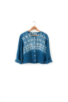 Hand-Dyed and Patterned Indigo Shibori Crop Linen Top Jacket Button-Up XS S