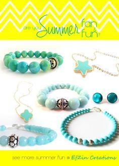 Are you Summer Fan and Fun???? #bracelet #earrings #necklace #cross #star #aqua #teal #turquoise #seafoam #jewelry #trend #gemstone #βραχιολι #καλοκαιρι #κοσμημα