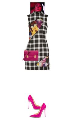 """""""Orlina #7835"""" by canlui ❤ liked on Polyvore featuring Christopher Kane, Jimmy Choo, Sophie Hulme, dress, dresses and gingham"""