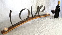 We <3 Love!! Wine Barrel Candle Holder with LOVE made from Napa Wine Barrel Rings -100 recycled