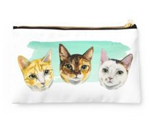 Studio Pouch. This is a watercolor painting of three different cats. They all have different patterns. Cat portrait.