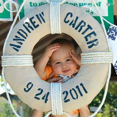 Clever Nest: Vintage Nautical First Birthday - DIY life preserver wreath