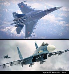 Su-35J 航空自衛隊F-2支援戦闘機の洋上迷彩