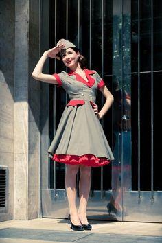 Rockabilly pin up army dress
