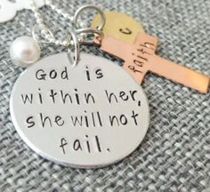 Personalized hand stamped charm necklace - Mixed metals - God is within her, she will not fail. Psalm 46:5-11