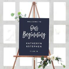 """Wedding Welcome Sign. Welcome to """"Our Beginning"""" Sign by JuicyPaperie"""