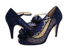 Navy blue polka dot wedding shoes by Kate Spade