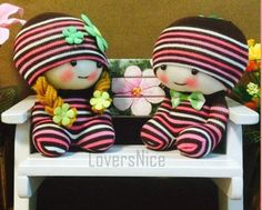 Lover Stripe Brown Handmade Socks Cotton Essential oil Men&Women Lover Couple Dolls Toy