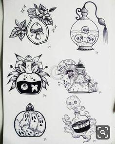 Witchy potions 👻🕸️🍄🕷️☣️🔮 Per disegni su commissione contattami in privato 🔮 Flash Art Tattoos, Body Art Tattoos, Arabic Tattoos, Sleeve Tattoos, Tatoos, Kunst Tattoos, Tattoo Drawings, Art Drawings, White Board Drawings