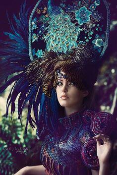 READY TO SHIP Enchanted Royal bohemian Peacock Fantasy Woodland fairy nymph goddess headdress headpiece gaga steampunk burlesque costume