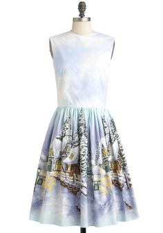 It's a Wonderland Life Dress by Bernie Dexter - Cotton, Long, Blue, Multi, Print, A-line, Sleeveless, Winter, Holiday, Holiday Party, Vintage Inspired, 50s AWWW  <3