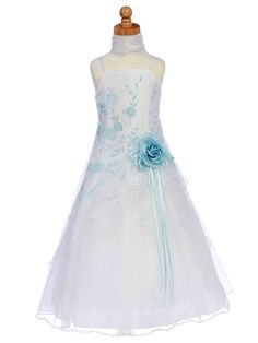 Blue Flower Girl Dress - Organza A-Line Dress Shawl Style: D900 $74.99 Blue