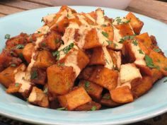 Spicy patatas bravas is often served as tapas in Spain, but it also makes a perfect brunch side. Pan-fry the potatoes, then top with a roasted tomato sauce flavored with smoked paprika.