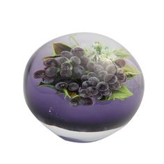 """Rick Ayotte """"Bacchus"""" Paperweight  American  2010  A fine Rick Ayotte """"Bacchus"""" paperweight with a cluster of grapes on a translucent purple ground"""