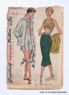 Vintage 50s Jacket Bra-Top Shorts Capris Pattern Bust 32 Simplicity 3250 Uncut #Simplicity