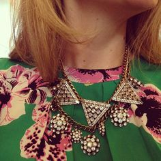 @Grace / Stripes & Sequins layering 2 HWTF x @BaubleBar necklaces with a floral @J.Crew blouse