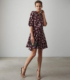 8dce5230856f Women s Floral Print Long Sleeve Ruched Front Hacci Knit Dress ...