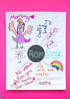 Adorable Printable Mother's Day Questionnaire. Let the kids fill in questions all about mom and hand-draw a cute portrait. This would be fun to frame and put on the wall!
