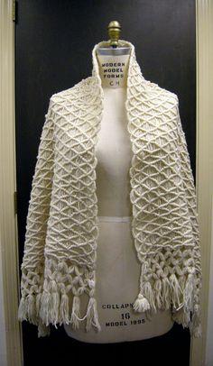 70's hippie hipster chic macrame fringe shawl