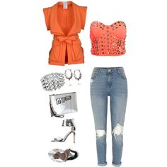 Orange and Silver by Deranged Diva. A fashion look from February 2015 featuring Versace blazers, River Island jeans and Bagatt sandals. Browse and shop related looks.