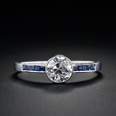 Diamond and Sapphire Art Deco Style Ring in Platinum