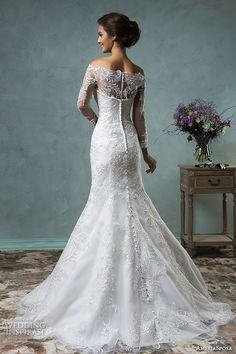 amelia sposa 2016 wedding dresses off the shoulder lace long sleeves overskirt stunning trumpet fit to flare mermaid dress celeste back view